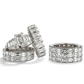 Rings in platinum set with colourless diamonds. Available in different sizes