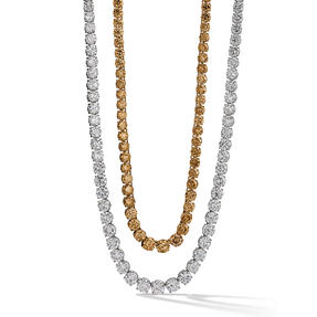 Necklaces in platinum and 18k rose gold set with colourless and Orange Brown diamonds.