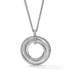 Pendant in 18k white gold set with colourless diamonds.