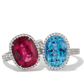Rings in 18k white gold set with pink tourmaline / aquamarine and colourless diamonds. Available in different sizes.