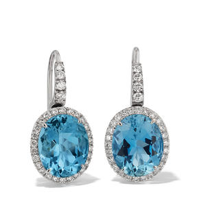 Earrings in 18k white gold set with aquamarines and colourless diamonds.