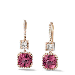 Earrings in 18k rose gold set with red spinel and colourless diamonds.