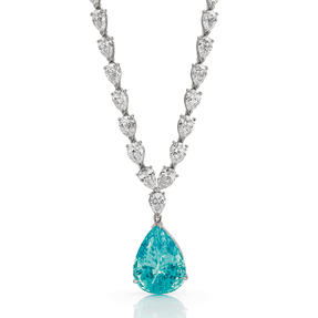 Necklace in platinum set with colourless diamonds and a magnificent Paraiba Tourmaline