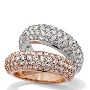 Rings in 18k white gold and rose gold set with colourless diamonds. Available in different sizes.